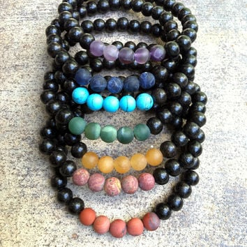 Ebony and Matte Gemstone Men's Chakra Bracelet