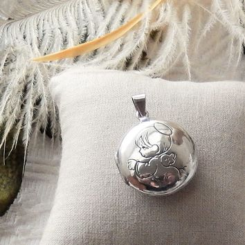 Vintage Precious Moments Sterling Silver Double Sided Engraved Angel Locket Pendant