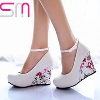 Fashion Ankle Strap 2015 High Wedges Platform Summer Pumps For Women Casual Dress Elegant Flower Print Wedges Platform Shoes