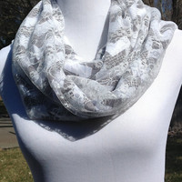 Lace grey and white chevron Infinity scarf, Grey and white Chevron Zig Zag, lace scarf, lace infinity scarf, bridesmaid gift