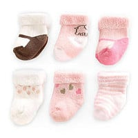 Carter's Girl 6-Pack Terry Roll Socks (0-3 Months)