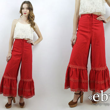 Plus Size Vintage 70s Bell Bottoms Festival Pants Hippie Pants Hippy Pants 1970s Pants Vintage 70s High Waisted Ruffled Bell Bottoms XL 1X