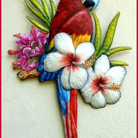 Scarlet Macaw Metal Art - Hand Painted Metal Art Parrot Wall Hanging - Tropical Decor - Bird Art, Haitian Steel Drum Metal Wall Art - K-7401