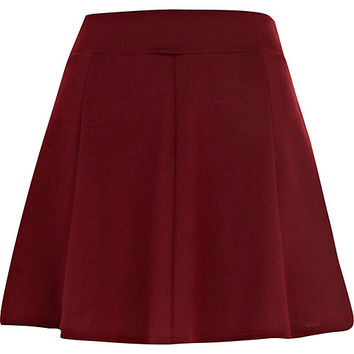 River Island Womens Dark red jersey skater skirt
