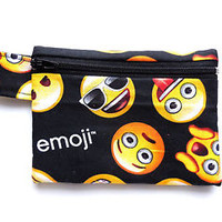 Emoji Wallet Zipper Pouch Cotton Coin Change Purse Zip Tab Smile Face Emoticon