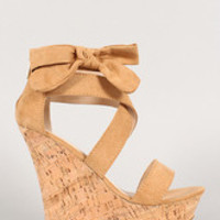 Women's Bamboo Suede Bow Open Toe Platform Wedge