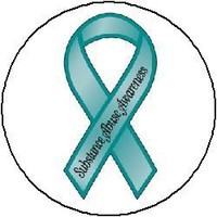 (Quantity 25) TEAL Substance Abuse AWARENESS Ribbon Pinback Buttons 1.25 Pins / Badges
