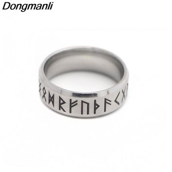 P1808 Dongmanli Punk Fashion Style Antique Retro Male Jewelry Viking Ring Female Black Amulet Vintage Norse Rune Rings For Women
