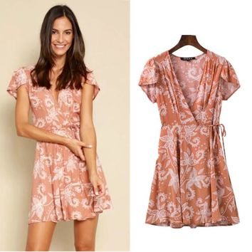 Short Sleeve Summer Women's Fashion Print One Piece Dress [518261080118]
