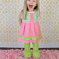 Ruffle Pants Solid Lime Green