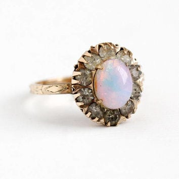 Faux Opal Ring - 12k Rosy Yellow Gold Filled White Paste Cluster Statement - 1930s Art Deco Size 6 1/2 Oval Colorful Glass Cabochon Jewelry