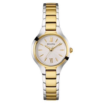 Bulova 98L217 Women's Classic White Dial Two Tone Steel Watch