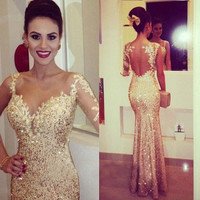Mermaid Prom Dresses,Gold Prom Dress,Long Evening Dress