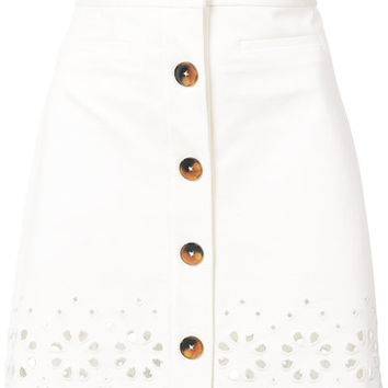 Derek Lam 10 Crosby A-Line Mini Skirt With Eyelet Embroidery - Farfetch