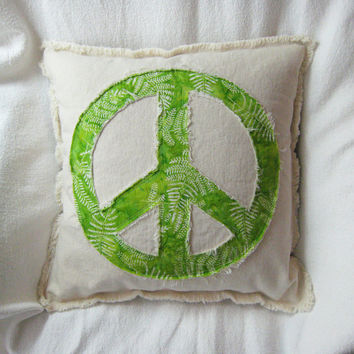 "Peace sign pillow cover with spring green fern leaf design batik and distressed denim 16"" boho retro pillow cover"