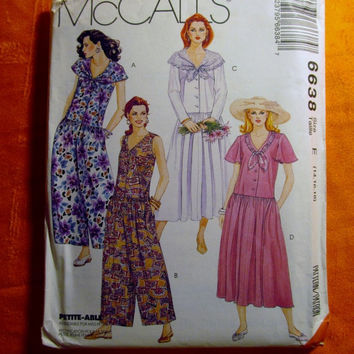 Sale Uncut 1993 McCall's Sewing Pattern, 6638! 14-16-18 Medium/Large/Women's/Misses/Sleeveless Jumper Dress/Loose Fitting Dress/Dropped Wais