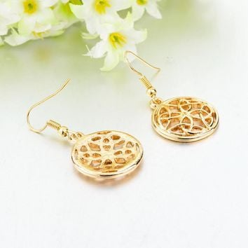 Gold Hollow Round Drop Earrings Jewelry