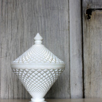 vintage westmoreland milk glass english hobnail // candy dish with lid // 1950s