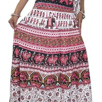 Womans Wrap Skirt Gypsy Pink Indian Printed Cotton Long Wrap Around Skirt Beach Wrap
