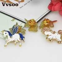 Trendy Vvsoo 5 Pcs/Set Cartoon Animal Unicorn Friends Brooch Button Pins BFF Blue Purple Denim Jacket Pin Badge Gift Christmas Decor AT_94_13
