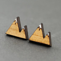Mountain Earrings : Cherry Wood Stud Earrings, Winter, Snow, White Caps, Skiing, Nature, Alps, Glacier