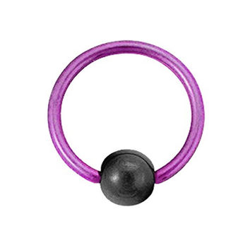 Titanium Ball Closure Ring in Pink with Hematite Bead 16 gauge by 3/8""
