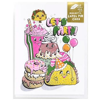 Lets party Lapel Pin Card