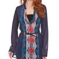 Belted Printed Tribal Blouse