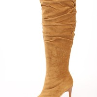 Chestnut Slouchy Knee High Heel Boots Faux Suede