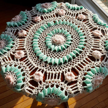 "Vintage Table Cloth, 39"" Round Table Cloth,Crocheted Tablecloth or Throw,Pastel Color Doily,Baby Decor, Baby Blanket,Pink & Mint Tablecloth"