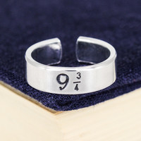 9 3/4 Cuff Ring - Harry Potter - Adjustable Aluminum Cuff Ring