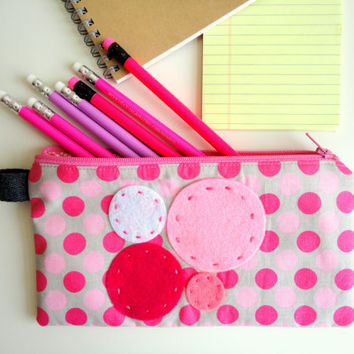 Pink Madness Pencil Case  Japanese fabric by handmadephilosophy