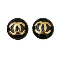 Classic Black Button Stud Earrings-B15