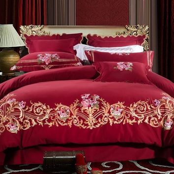 Red Luxury Bedding Set Queen King size 100%Cotton Bed sheet Bed set Embroidery Duvet Cover juego ropa de cama couvre lit de
