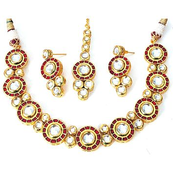 Red meenakari work with kundan round stone embedded Choker Necklace and Earring set with Maang tikka