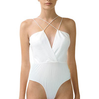 Cross My Mind Leather Bodysuit - White