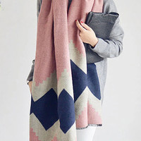 Color Block Geometric Print Scarf