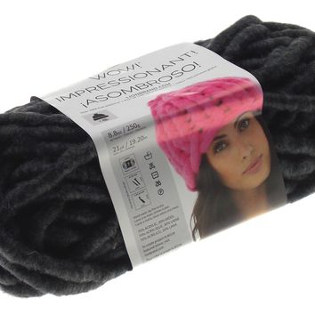 Lion Brand Yarns Wow Up In Smoke Charcoal Skein Acrylic Wool Knit Crochet Jumbo