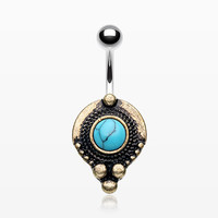 Vintage Golden Orbit Turquoise Stone Belly Button Ring