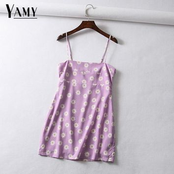 Vintage floral cherry print chiffon dress women beach dress Sexy spaghetti strap backless mini dress korean casual dress vestido