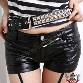 RTBU PUNK/EMO Hip Hugging Shiny Leather-Like stretchy Spandex Shorts S/M/L/XL