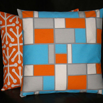 Pillows Orange and Turquoise Set of TWO 16x16 inch Decorator Pillow COVERS Modern Geometric 16""