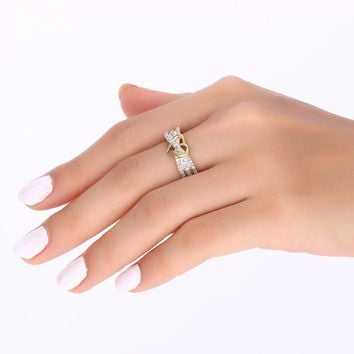Gorgeous Two Tone Heart Ring