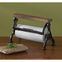 Vintage Inspired Counter Wooden & Cast Iron Butcher's Paper Towel Holder