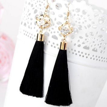 Black Tassel Earrings with Gold Square and Crystal