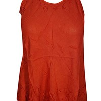 Mogul Interior Womens Tank Top Embroidered Red Sleeveless Beautiful Hippie topXS: Amazon.ca: Clothing & Accessories