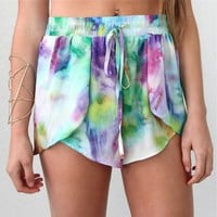 FESTIVAL BEACH RAINBOW SWIRL WRAP CROSSOVER BEACH SHORTS 6 8 10 12