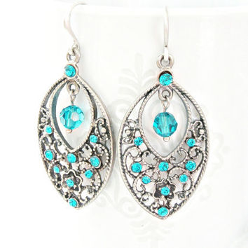Blue zircon Swarovski color rhinestone and crystal round beads antique silver color filigree earrings