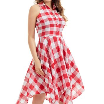 Red White Denim Checks Flared Shirtdress