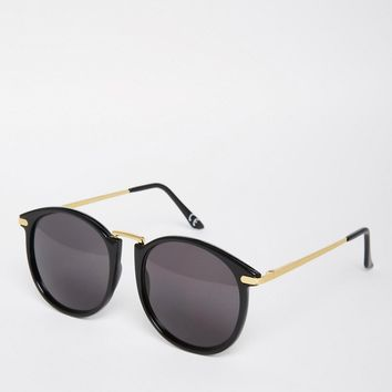 ASOS Oversized Round Sunglasses With Fine Metal Nose Bridge at asos.com
